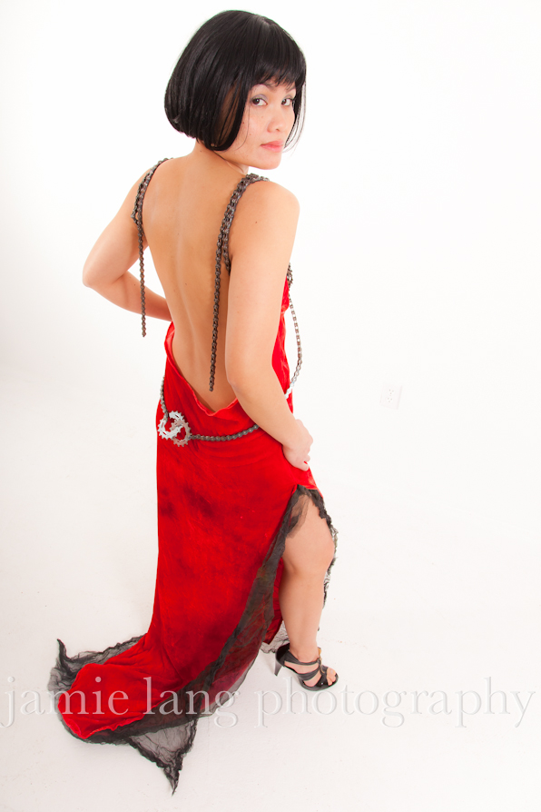 red velvet dress, muslin and bicycle chains welded
