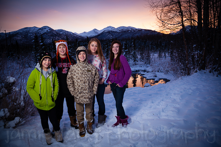 cousins at sunrise, plus individual family groups