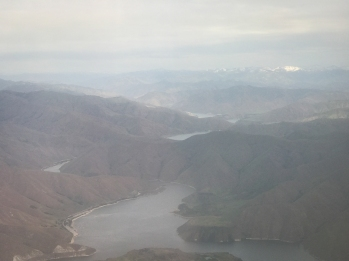 Snow on those mountains. Flying into Boise