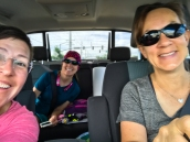 Monica, Val and I on the road to Stanley